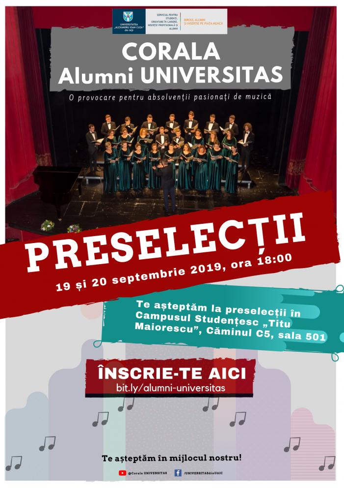Corala Alumni UNIVERSITAS organizează preselecții