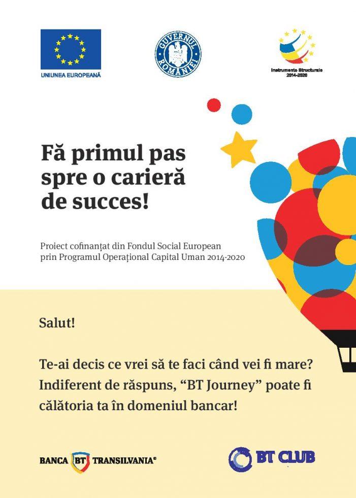 """Internship """"Fă primul pas spre o carieră de succes"""" alături de Banca Transilvania"""