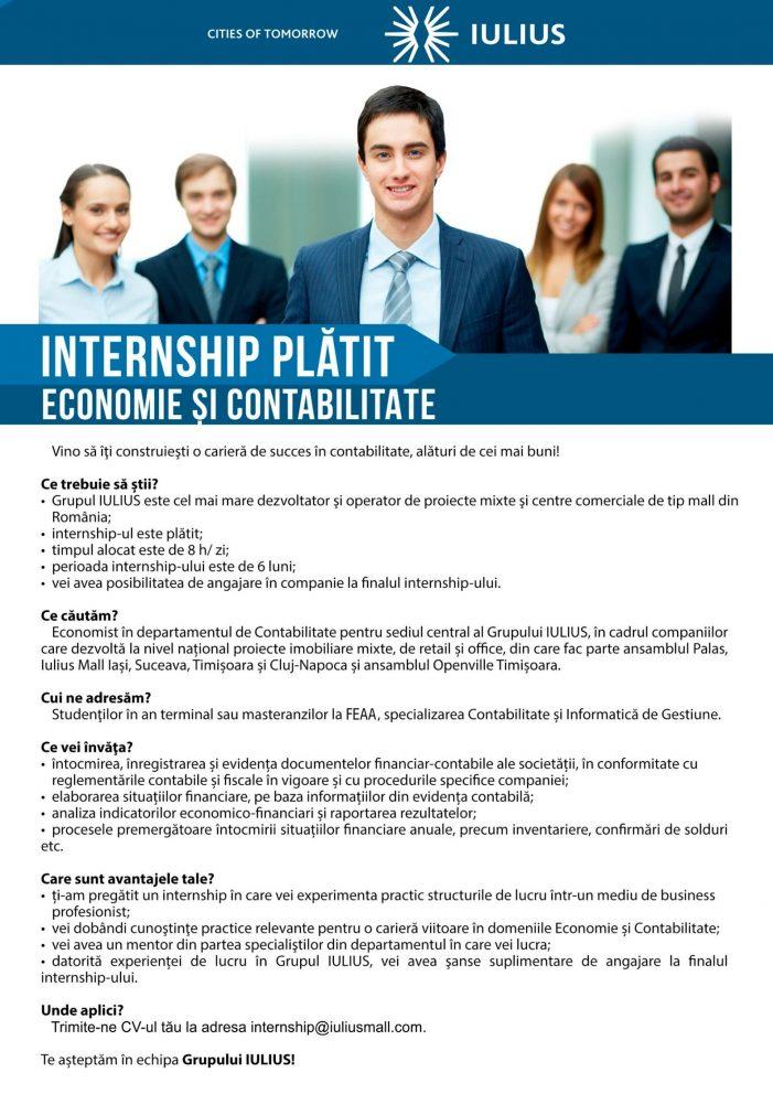 Compania IULIUS a lansat programul de internship plătit pe Contabilitate