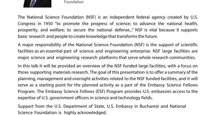 """Conferința """"Finanțarea cercetării în Statele Unite ale Americii"""""""