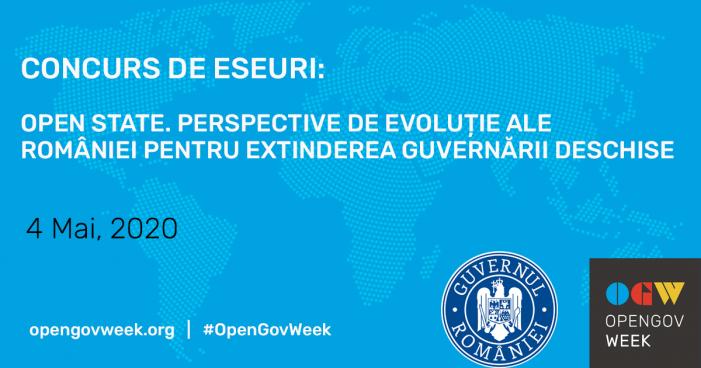 """Concurs de eseuri cu tema """"Open State. Perspective de evoluție ale României pentru extinderea guvernării deschise"""""""