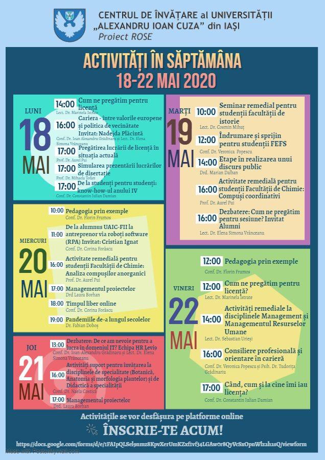 Activități organizate de Centrul de Învățare al UAIC în perioada 18-22 mai