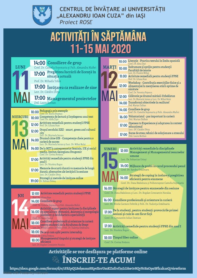 Activități organizate de Centrul de Învățare al UAIC în perioada 11-15 mai