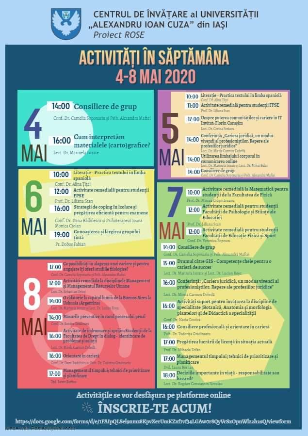 Activități organizate de Centrul de Învățare al UAIC în luna mai