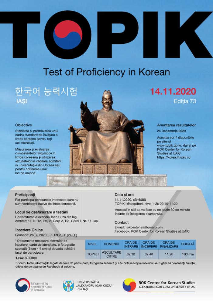 Centrul de Studii Coreene (ROK) al Facultății de Litere găzduiește examenul TOPIK