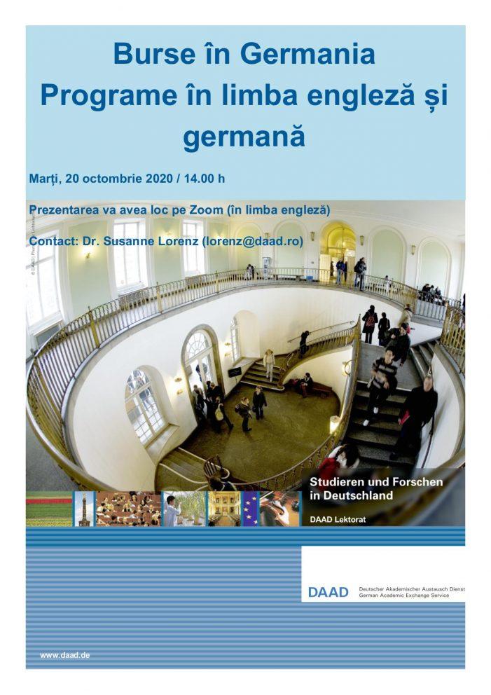 Prezentarea programelor de burse DAAD pentru studenți, masteranzi, doctoranzi, cadre didactice și cercetători