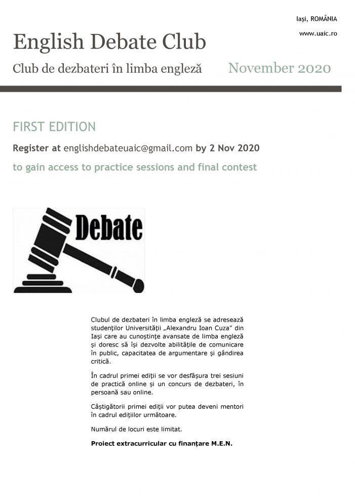Club de dezbateri în limba engleză pentru studenții UAIC