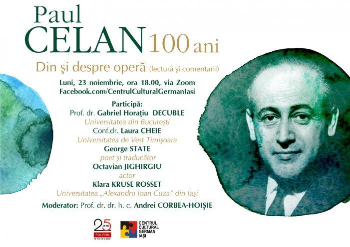 Paul Celan – 100 ani. Din și despre operă