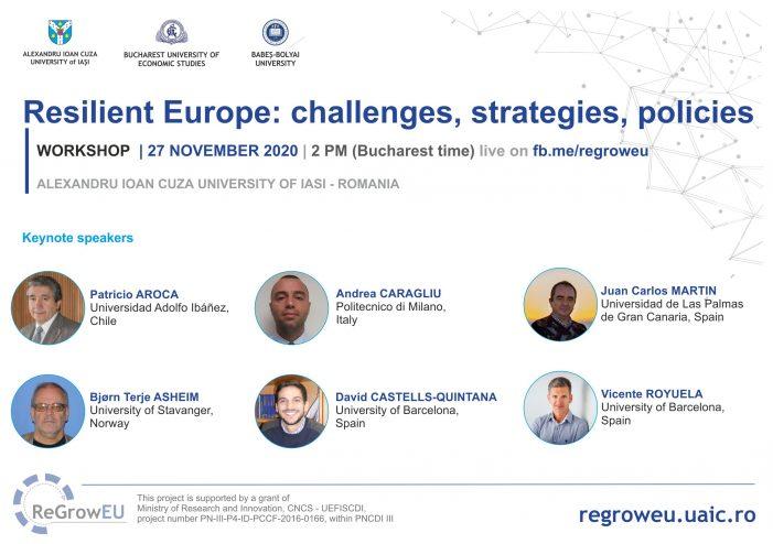 Centrul de Studii Europene al UAIC organizează workshop-ul Resilient Europe: challenges, strategies, policies