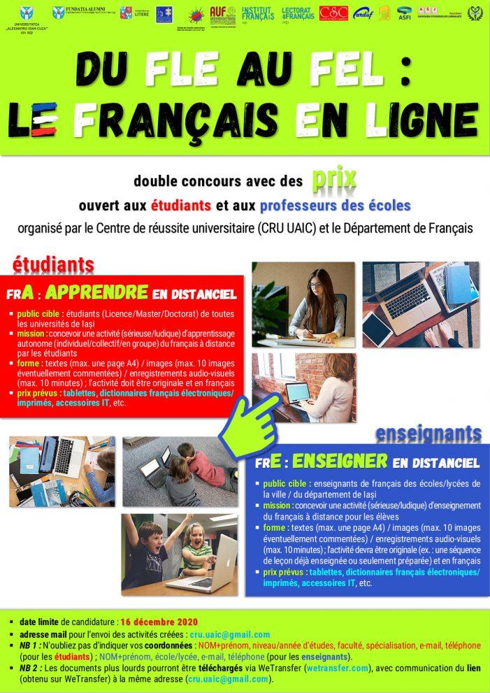 Dublu concurs cu premii: Du FLE au FEL… Le français en ligne