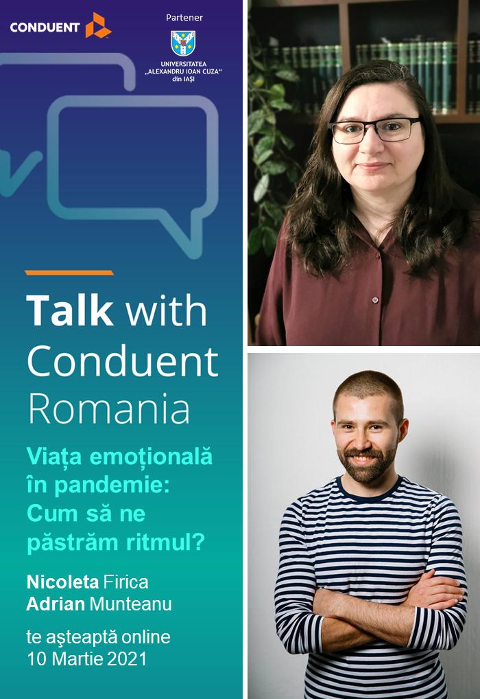 """Talk with Conduent România: """"Viața emotională în pandemie  – Cum să ne păstrăm ritmul?"""""""