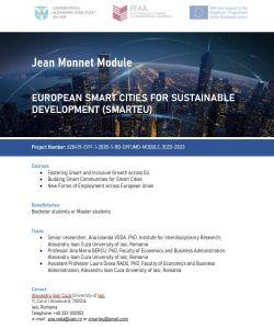"""FEAA organizează Școala de Vară  """"European Smart Cities for Sustainable Development"""" (SmartEU)"""