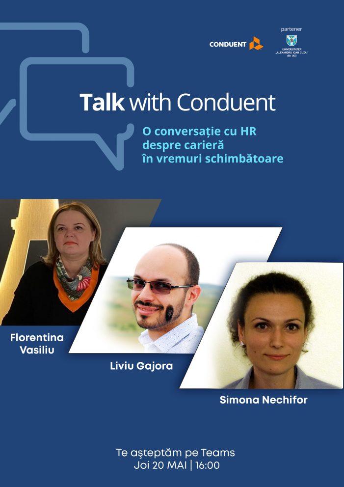 """Training online """"Talk with Conduent România: O conversație cu HR despre carieră în vremuri schimbătoare"""""""