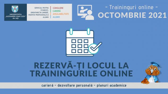 Traininguri online gratuite oferite de Serviciul pentru Studenți, Orientare în Carieră, Inserție Profesională și Alumni